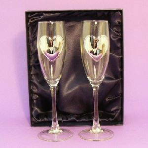 Heart Champagne Flutes Glasses Gift Boxed Personalised Wedding Gift